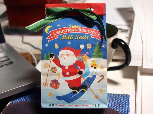 サンタがスキーでやってきた